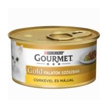 GOURMET GOLD Csirkével és májjal szószban nedves macskaeledel