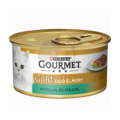 GOURMET GOLD Nyúllal és májjal duó élmény nedves macskaeledel