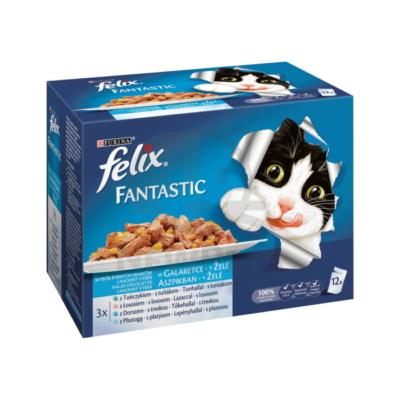 FELIX FANTASTIC Halas válogatás aszpikban nedves macskaeledel