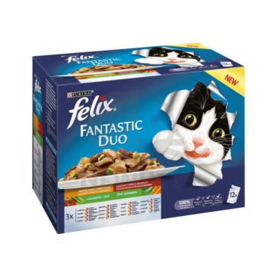 FELIX FANTASTIC DUO Házias válogatás aszpikban nedves macskaeledel