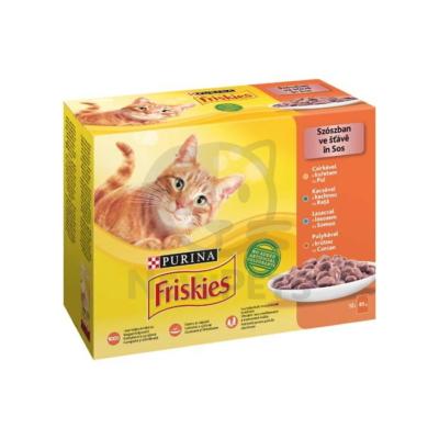FRISKIES Szószban Csirkével/Kacsával/Lazaccal/Pulykával nedves macskaeledel