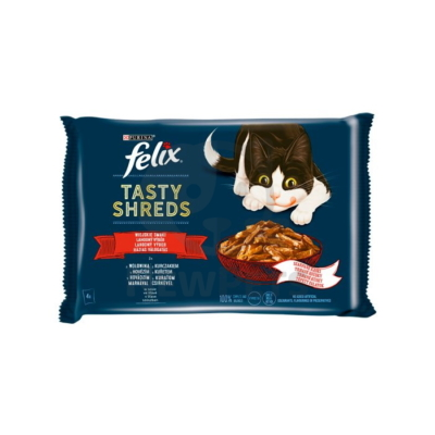 FELIX SHREDS Házias válogatás szószban nedves macskaeledel